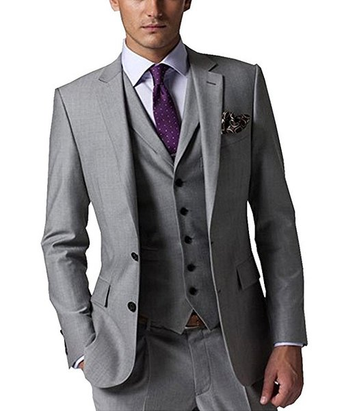 Classic Groomsmen Notch Lapel Groom Tuxedos Light Grey Men Suits Side Vent Wedding/Prom/Dinner Best Man Blazer (Jacket+Pants+Tie+Vest) K789