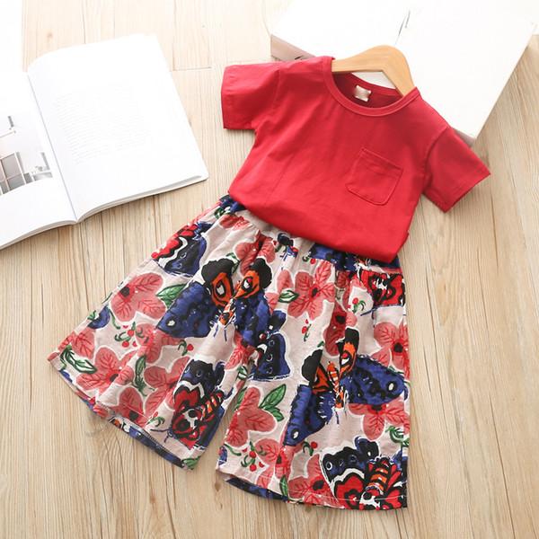 Los niños de verano de manga corta T + sello de la flor de pierna ancha Bellbottoms niñas traje de dos piezas holgados pantalones