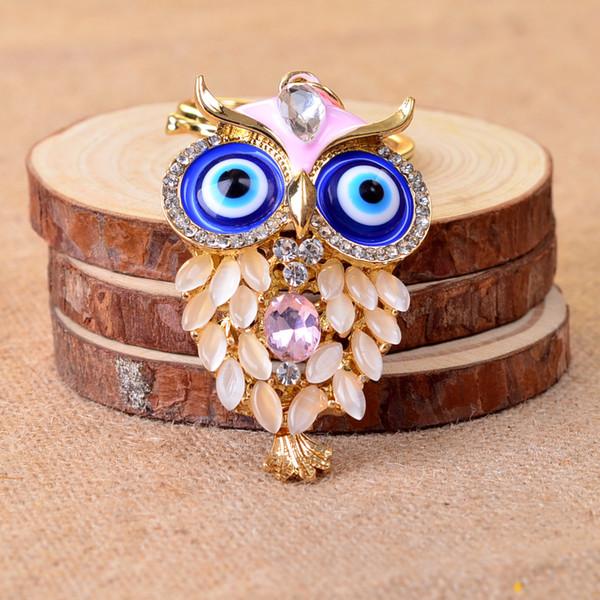 Luxury crystal cute owl keychains fashion women beautiful high quality zinc alloy keychains ladies pretty key ring