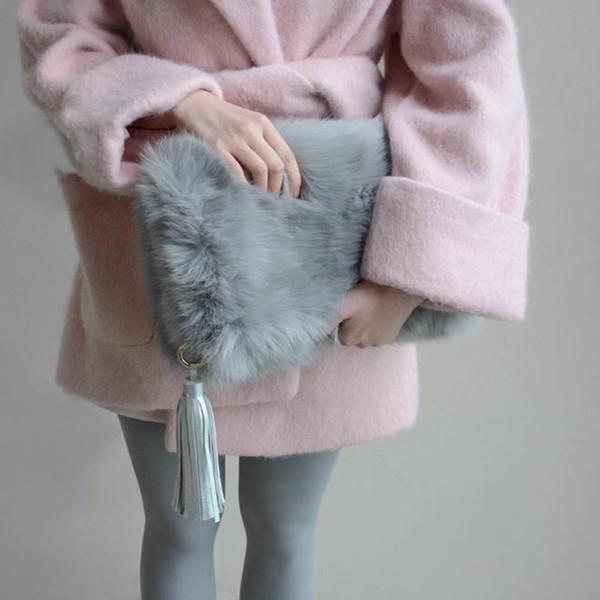 Faux Fur Women Leather Handbags Fashion Tassels Bag Personalized Day Clutch Purse Winter Bolsas Ladies Fold Over Handbag