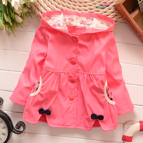 2016 spring autumn baby girls trench coat hoodies imitation tencel cute bow bear jackets kids coats outfit 0-3years thumbnail