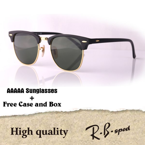 16 Colors To Choose Brand Designer Cat Eye Sunglasses Men Women Semi Rimless Sun Glasses plank frame glass lens With Case and box