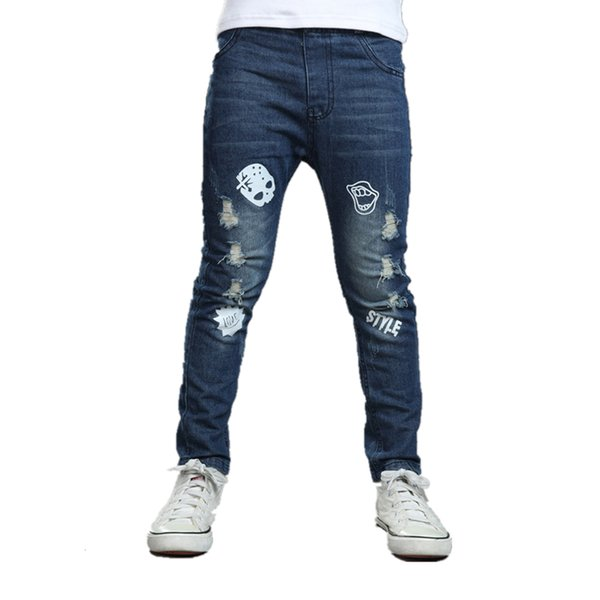 2018 Boys Jeans Children Broken Hole Pants Cute Cartoon Pattern Kids Jeans Fashion Elastic Waist Trousers Clothes For Boys10 Yrs