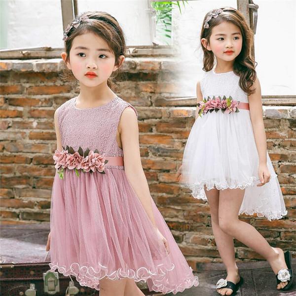 2018 New Summer Baby & Kids Clothing Tuxedo Brief Solid Floral Sleeveless Boat NeckA-Line Dress Girls Dress Mesh Girl Princess Skirt