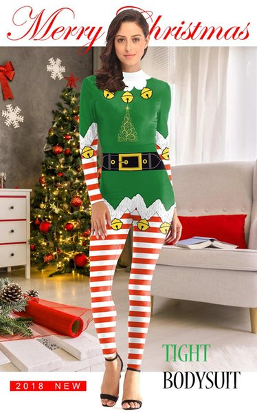 2018 Popular Christmas costumes new Christmas costumes tight stage performance clothing wholesale women's zipper jumpsuit wholesale sal