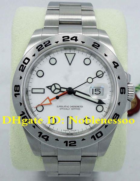 2 Renk Topselling Lüks Mens Watch 42mm Explorer II 216570 Paslanmaz Çelik Beyaz Kadran Tarihi 42mm Otomatik erkekler İzle Asya 2813 Hareketi