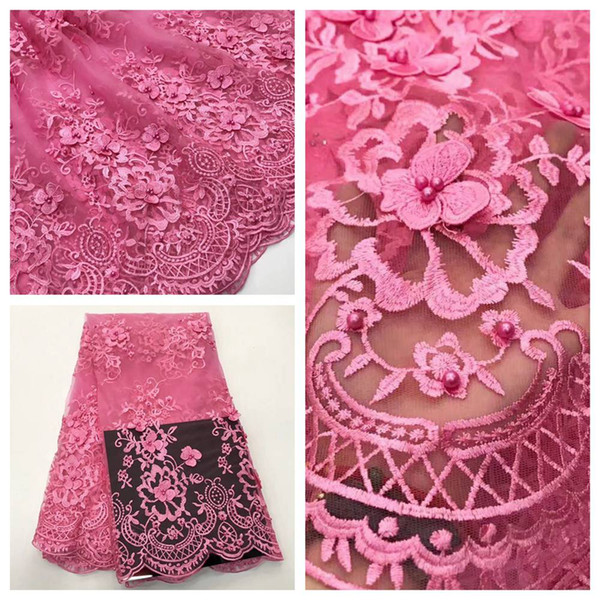 High Quality Mesh African Lace Fabric Tulle Beaded French Net Lace Applique Guipure Nigerian Lace Fabrics for Dress A18040401A
