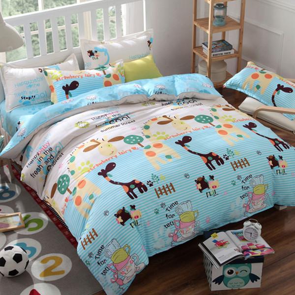 1Set Cartoon Creative Lenzuola Anatra Giallo Hot Fashion Nuova biancheria da letto in cotone Aloe stampa reattiva set di biancheria da letto Giraffa