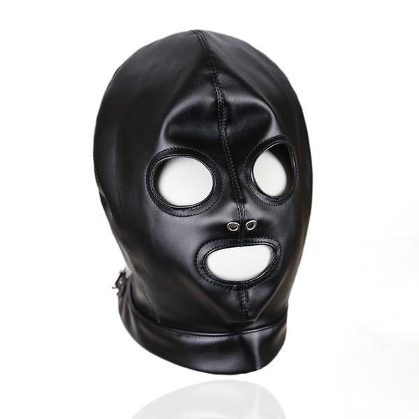 Faux Leather Head Face Mask Sex Hood Party Play BDSM Bondage Gear Visable Breathable Slave Adult Toys For Women GN312400011