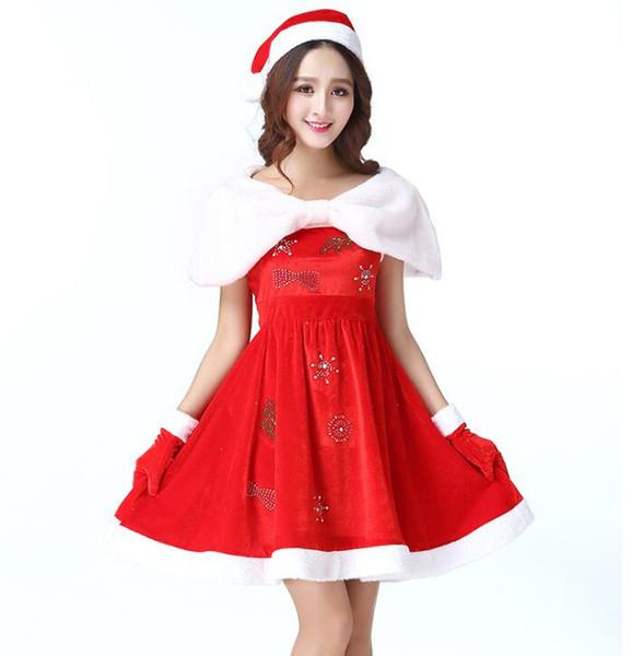 Compre Vestido De Navidad Para Mujer Traje De Navidad Para Adultos Vestidos De Piel De Terciopelo Encapuchado Sexy Traje De Santa Claus A 2336 Del