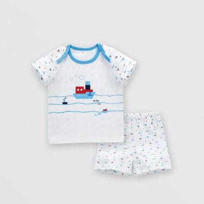 best selling Children's clothing new summer short-sleeved baby cotton kids suit boys and girls t-shirt baby two-piece together