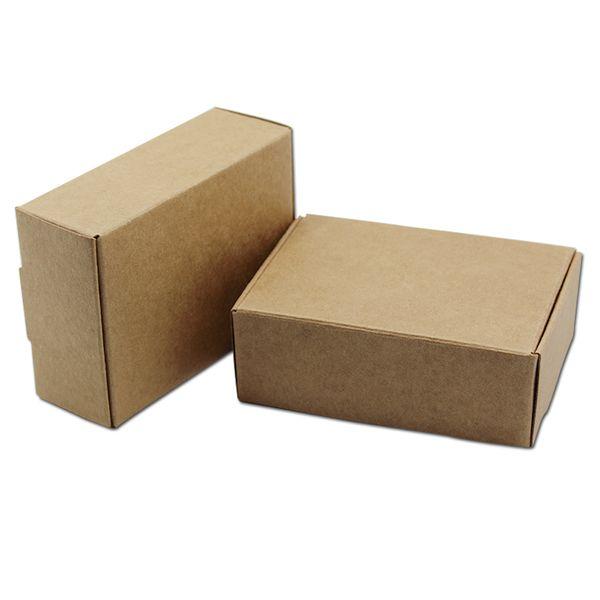 20Pcs Natural Brown Kraft Paper Small Gifts Packaging Box Carton Paperboard Wedding Party DIY Supply Packing Box 68 Sizes free shipping