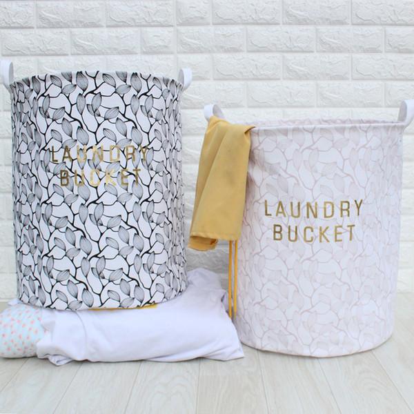 3pcs/lot Nordic Style Folding Cotton Linen Fabric Dirty Clothes Storage Barrel Laundry Basket Household Sundries Organizer Pouch 40*50cm