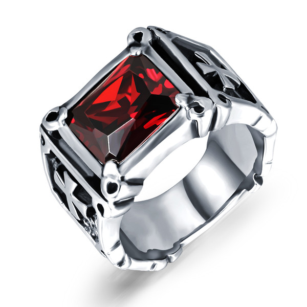 Hot Selling Biker Mens Red Faux Garnet Ruby Rings Stainless Steel Dragon Claw Cross Ring Band Gothic Jewelry