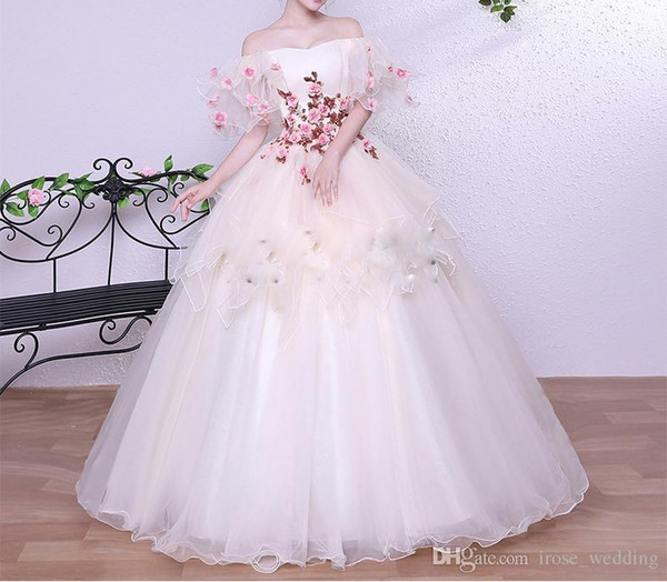 2017 Newest Ball Gown Prom Dress Sexy Bateau 3D Floral Appliques Pearls Short Sleeve Peplum Floor Length Organza Evening Formal Gowns