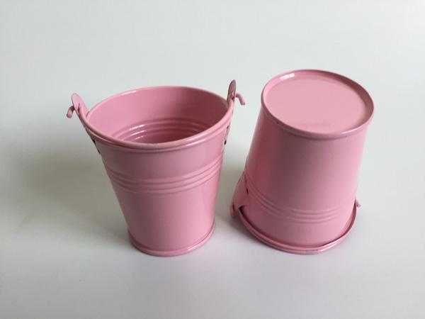 D7*H7CM Pink Mini flower pots small Pails metal buckets Succulents pail for Farmhouse wedding or Event