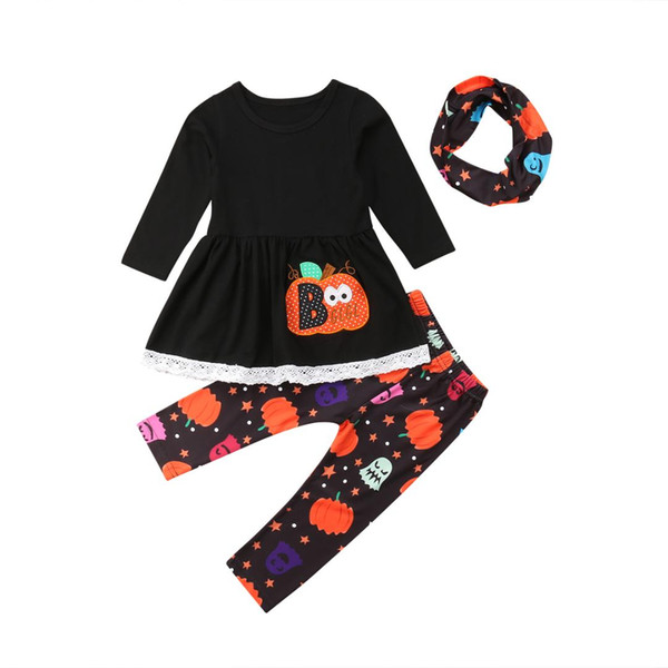 Halloween Toddler Kids Girl Fashion Clothes Long Sleeve Pumpkin Mini Dress+Long Pant Legging Scarf 3PCS Outfit Clothing Set