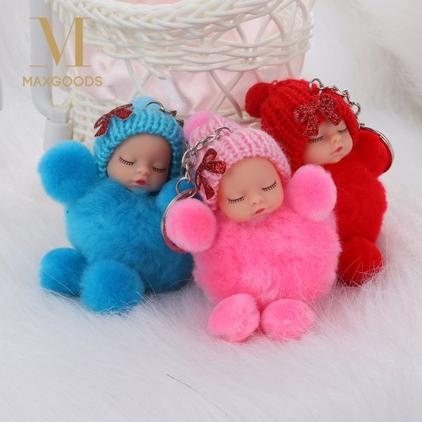 Knitted Hat Keychain Pompom Key Buckle Sleeping Baby Key Ring Plush Doll Toy