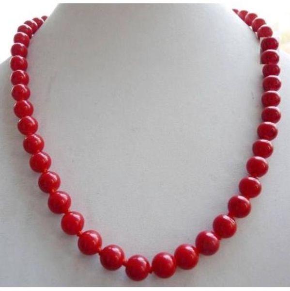 Collar de cuentas redondas de coral rojo mar del sur de 10 mm, 18 pulgadas, 14 quilates de oro SÓLIDO CLASP