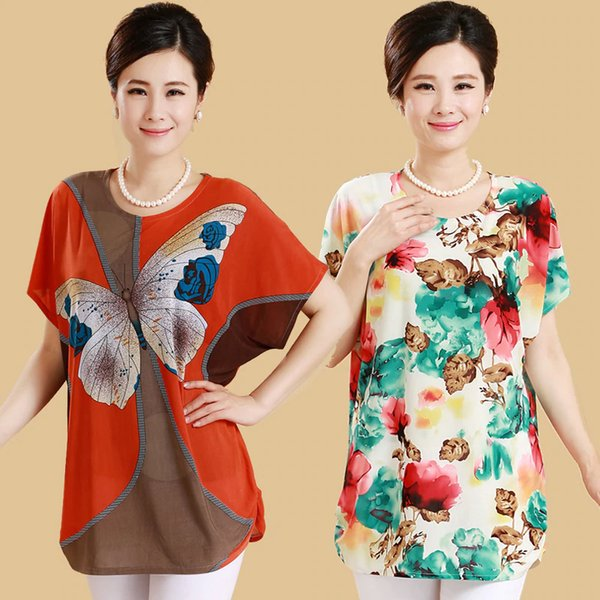 Polyester Middle Age Women Loose Tee Shirts Summer Plus Size Bat Short Sleeve T-Shirt Quinquagenarian Mother Clothing Top Blusas Female