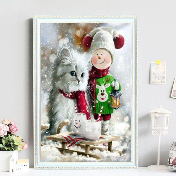 Wholesale Lovely 30*30cm Cat Kids Full 5D Diamond Painting Kit Decoración Del Hog Home Decor Wall Art Square Diamond Craft Supplies