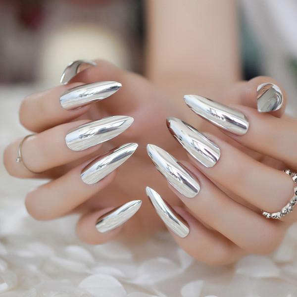24pcs métallique Stiletto Extra Long Silver Nails Effet Miroir Dames De La Mode Artificielle Faux Ongles