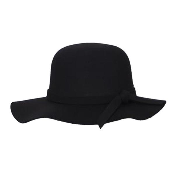 0b802fbe061a12 IMC Stylish Kids Girls Wide Brim Retro Felt Bowler Floppy Cap Cloche Hat -black