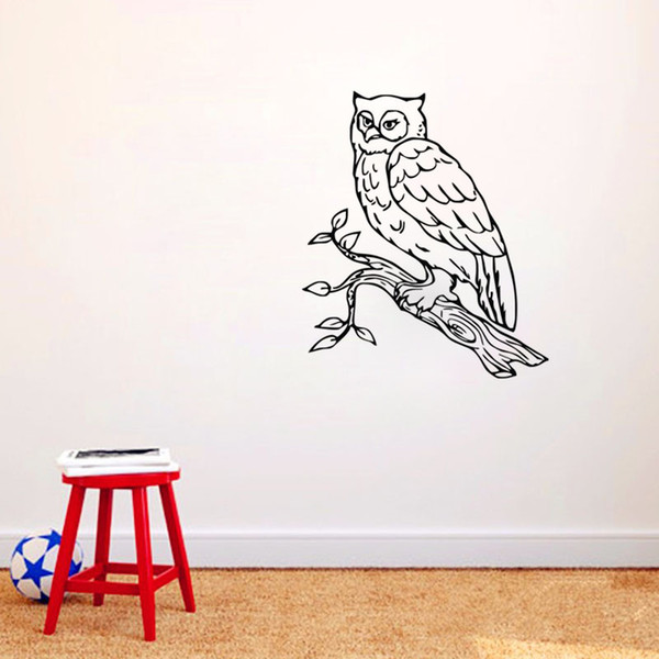 Owl Wall Stickers Home Decor Living Room Vinyl Adhesive Wallpaper Removable Animals Wall Decals Art