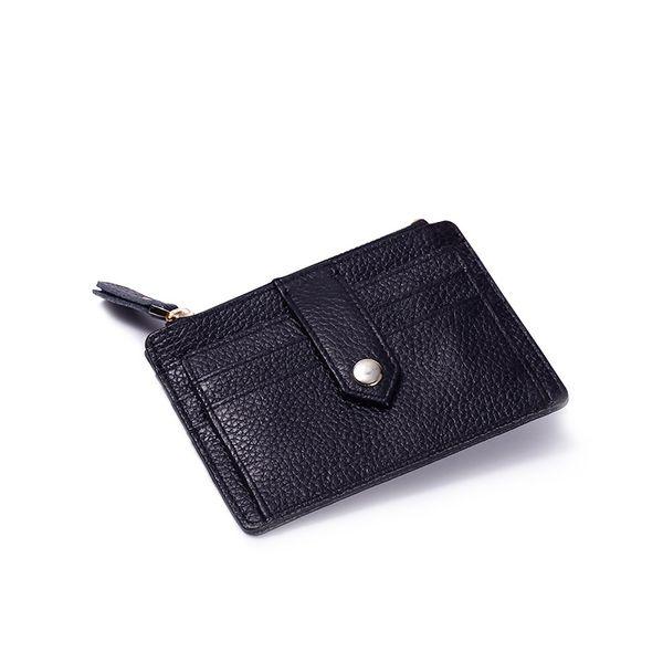 Mini slim Credit Card Case Wallet with ID Window and Zipper Holder purse For Men Women LOGO Custom