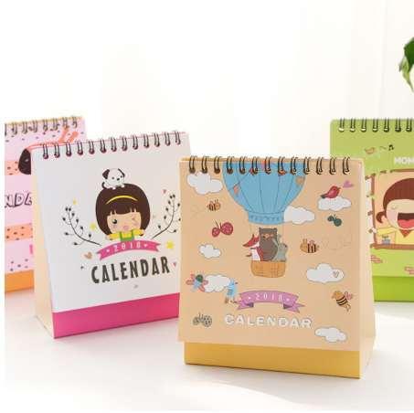 top popular 1 Pcs set Year 2018 Cute Girl Animal Desktop Paper Calendar dual Daily Scheduler Table Planner Yearly Agenda Organizer 12*17cm 2020