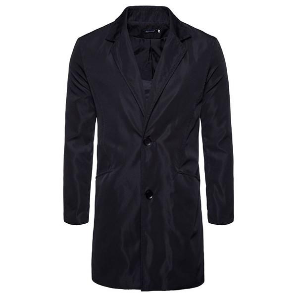 T-shirt per uomo autunno-inverno moda tascabile dritto lungo giacca maschile casual giacca antivento trench nero dell'esercito verde plus size