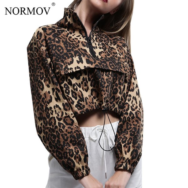 NORMOV Sexy Long Sleeve Crop Top Women Leopard Printed Tshirt Autumn Casual Short Ladies T Shirt High Collar