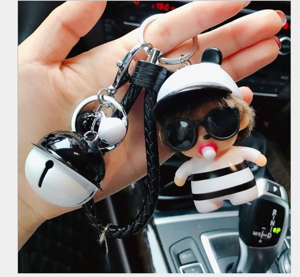 2018Creative cute Sunglasses key chain, men's women's car key chain ring bag Pendant