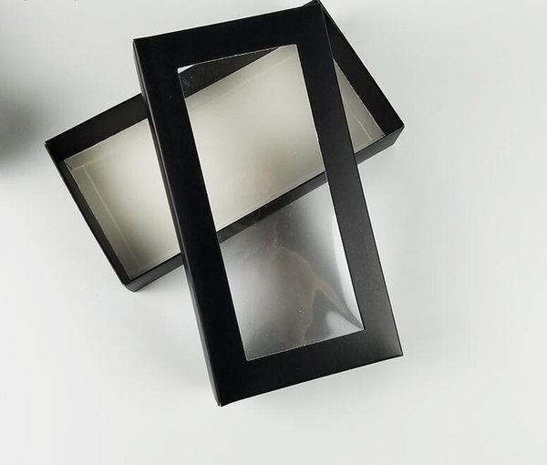 21*11*3.5CM large flat gift boxes black paper boxes paper window for wallet packaging 10pcs/lot box with pvc window