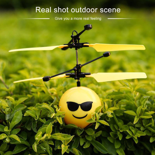 top popular LED Light Emotion Magic Flying Ball Infrared Induction Rotating Flying Toys Disco Music Flashing Fly Ball Kids RC Drone Toy Gift 2021