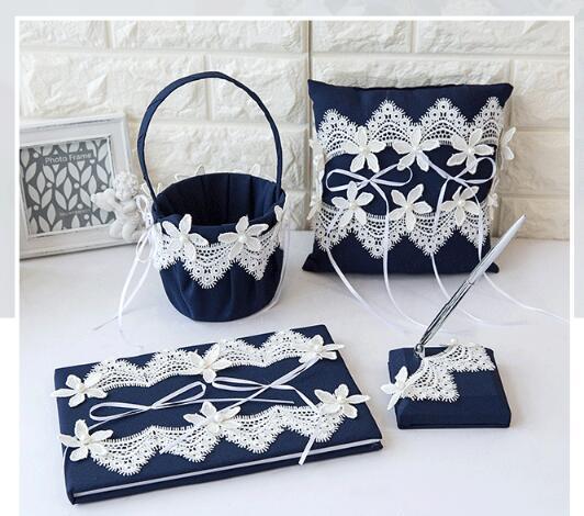 European wedding four-piece silk and lace flower Guest signature book signature pen Sets combination Pillow flower basket for children