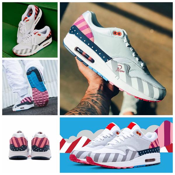 Großhandel 2018 Niederlande Designer Piet Parra X 1 Weiß Multi Rainbow 87 Laufschuhe 1s Damen Herren Trainer Luftsohle Sport Sneakers Größe 36 44 Von