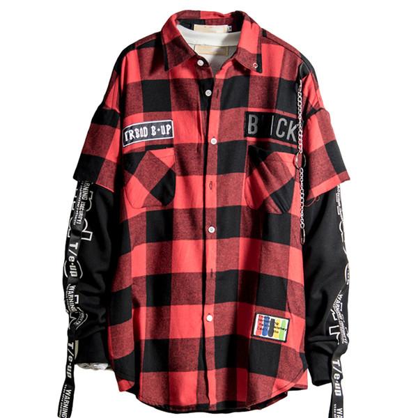 Botón encima de la escocesa roja y Patchwork Negro hombres camisa a cuadros con dibujos de Hip Hop Camisa Streetwear camisas de los hombres de moda de Corea 6C004