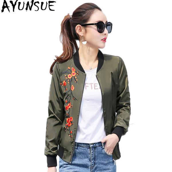 AYUNSUE Embroidered Jacket Women Baseball Coat Plus Size Women's Jackets Black Korean Outerwear Womens Jaqueta Feminina KJ393