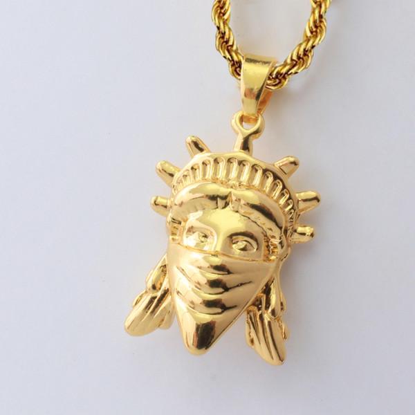 Gioielli di alta qualità autentica 18 K Placcato Oro Diamante Statua della Libertà di modo degli uomini hip hop Collana A154 #