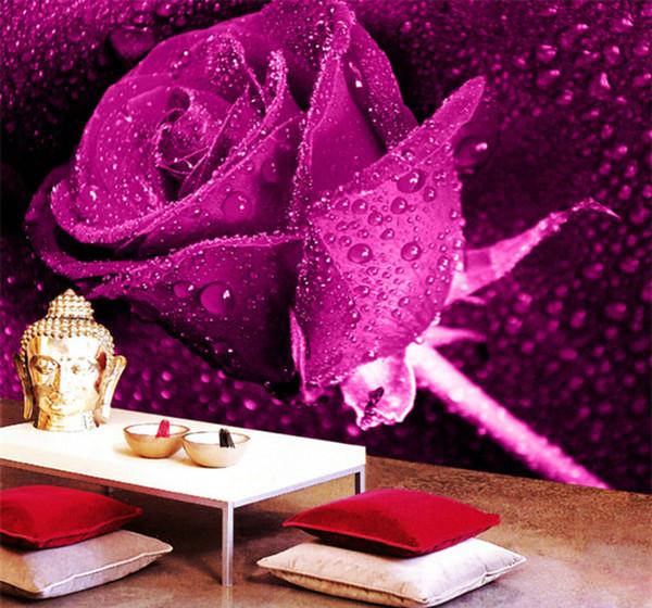 Benutzerdefinierte Wandbild Tapete 3D Stereo Vliestapete Schlafzimmer  Wohnzimmer TV Hintergrund Lila Rose Blume 3D Fototapete Rollen