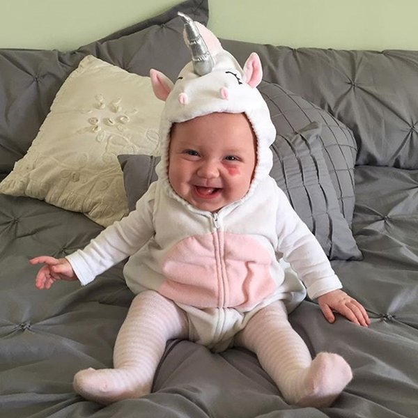 Emmababy baby girl boy bodysuit girls warm 3D Unicorn Zipper Hooded Costume bodysuits Jumpsuit Outfits bodysuit Clothes Girl boy
