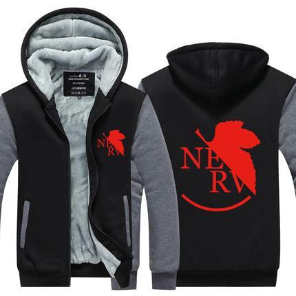 NEON GENESIS EVANGELION Winter Cashmere Hoodie Zipper Jacket Leisure Sweatshirts Thicken Cardigan Coat Long Sleeve Tracksuit Pullovers Tops