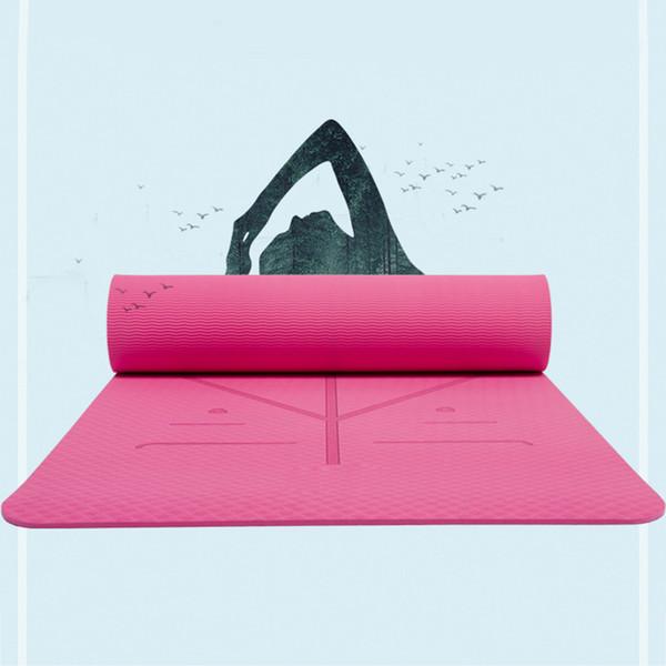 Stuoia di yoga del TPE di 1830 * 610 * 6mm con la stuoia di slittamento della borsa per le stuoie di ginnastica di ginnastica ambientale del principiante