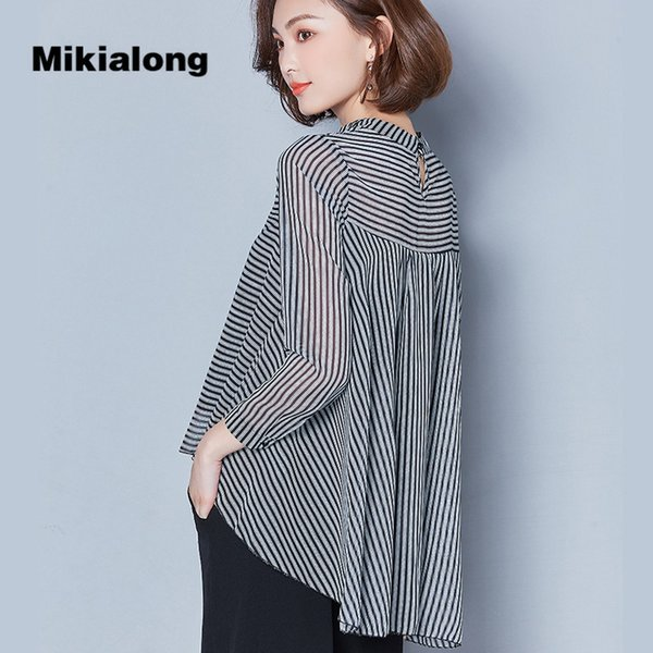 9381756444a882 CUWHF 2018 Spring Summer Chiffon Blouses Women Striped Shirts Causal Long  Sleeve Loose Ladies Tops Office