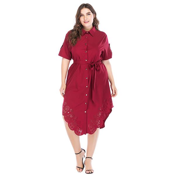 4e7fe9bb1 Camisa de Verão das mulheres Vestido Sólido Turn-down Collar Mangas Curtas  Assimétrica Vestido Botão