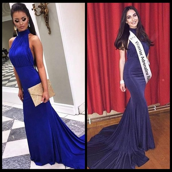 Sexy Mermaid Fitted Royal Blue Long Prom Dress High Neck Backless Party Dresses Pleated Top Sweep Train Jersey Special Occasion Dress