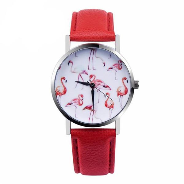Relojes Mujeres Hombres Moda Flamingo correa de cuero impresa reloj de pulsera de cuarzo analógico Mujeres 2018 Vogue Ladies Casual Watch