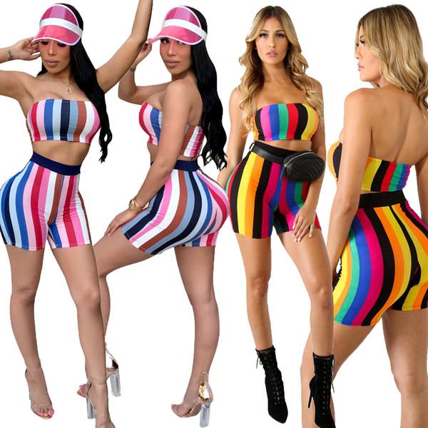 Summer Striped Colour Tie Dye Shots Women American Hot Sale Shorts + Sexy Bra Crop Tops Women Pants 2 Piece Set Plus Size S-2XL