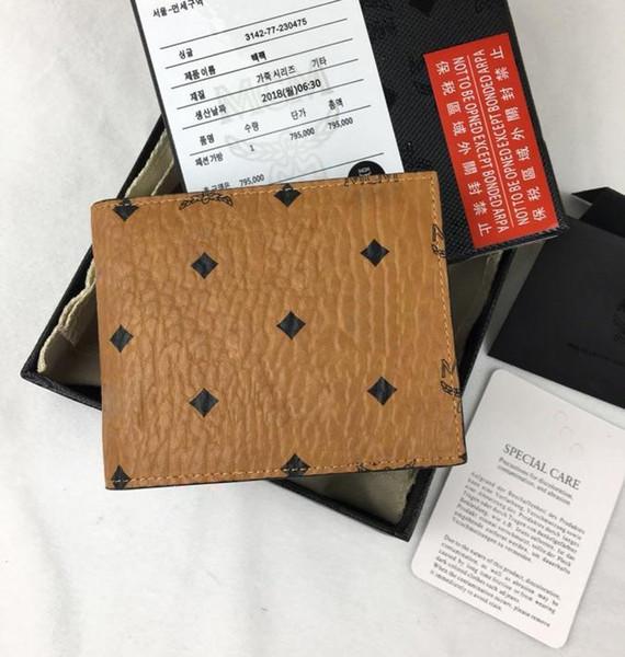 Top-Qualität gelb und schwarz Brieftaschen für Männer 12x9.2cm Mode Design Karte ID Halter Echtleder Ultra Slim Wallet mit Box 8021